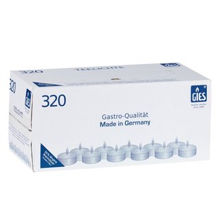 320 x 6 Stunden Teelichter von Gies, Gastroteelichter,weiß weiss,Teelicht,Gastro