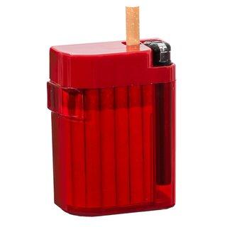 Magic Smoking Box rot,Zigarettenetui,Zigarettenbox, Zigi Box, Kippenbox,inkl. Feuerzeug - Etui